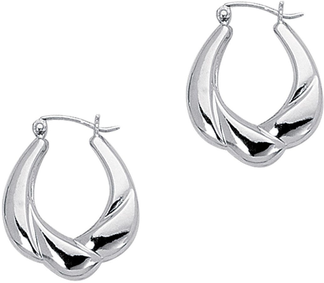 14K White Gold Polished Hoop Symbolic Earrings