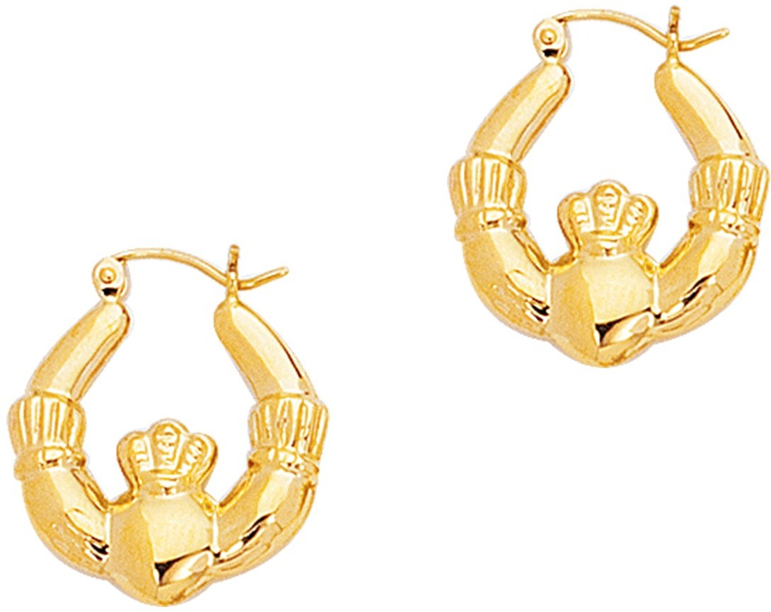 14K Yellow Gold Polished Claddagh Hoop Symbolic Earrings