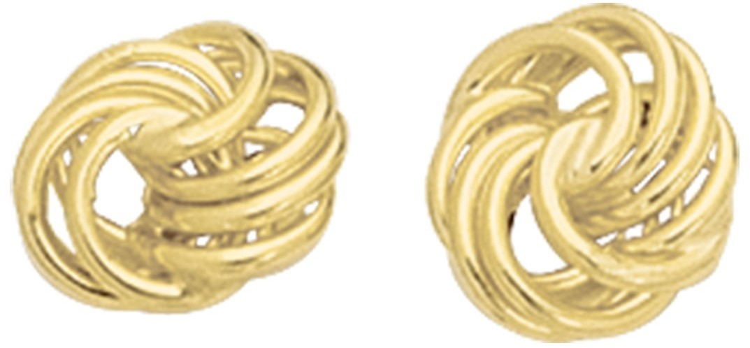 14K Yellow Gold Polished Textured Love Knot Earrings