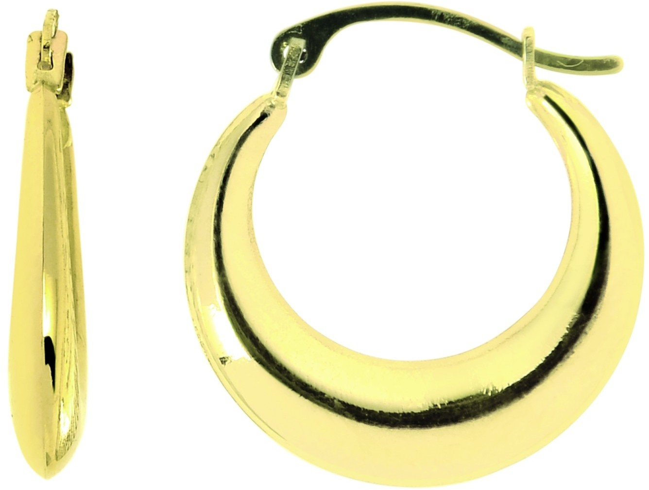14K Yellow Gold Polished Graduated Hoop Earrings