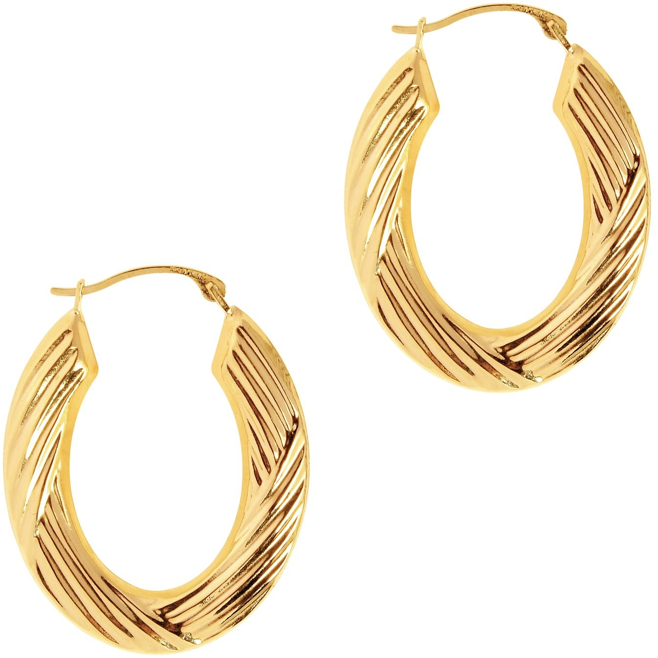 14K Yellow Gold Polished Texture Round Tube Hoop Symbolic Earrings