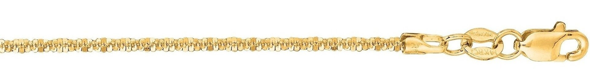 "16"" 14K Yellow Gold 1.5mm (0.06"") Polished Diamond Cut Sparkle Chain w/ Lobster Clasp"