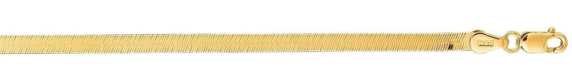 "7"" 14K Yellow Gold 3.0mm (1/8"") Polished Diamond Cut Imperial Herringbone Chain w/ Lobster Clasp"