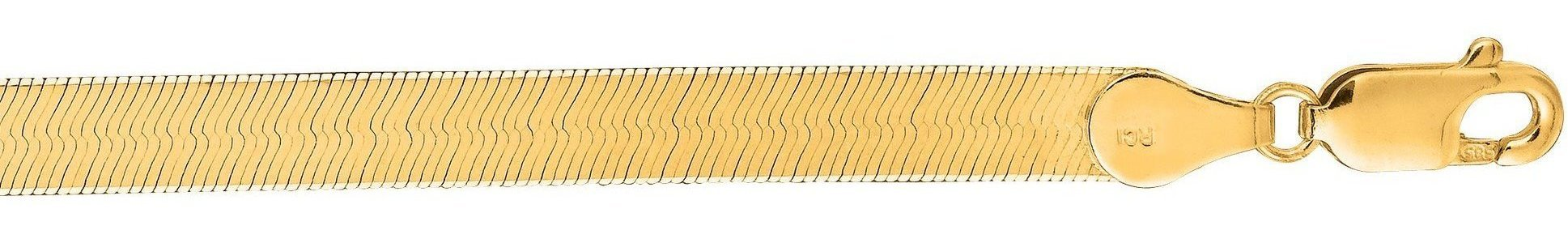 "24"" 14K Yellow Gold 5.0mm (1/5"") Polished Diamond Cut Imperial Herringbone Chain w/ Lobster Clasp"
