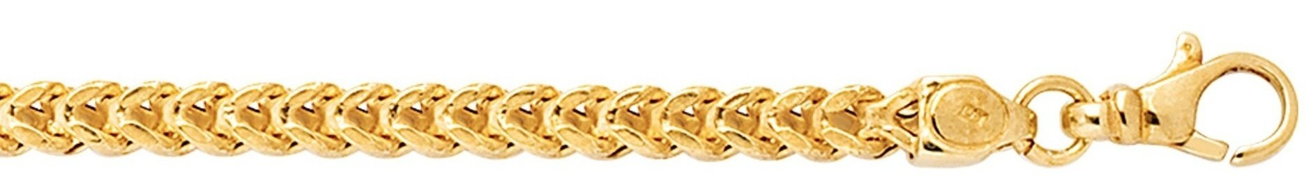 "8"" 14K Yellow Gold 3.9mm (1/7"") Polished Diamond Cut Square Franco Chain w/ Pear Shape Clasp"