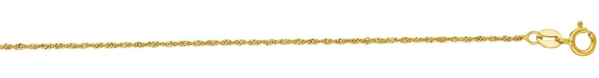 "24"" 14K Yellow Gold 1.0mm (0.04"") Polish Diamond Cut Singapore Chain w/ Spring Ring Clasp"