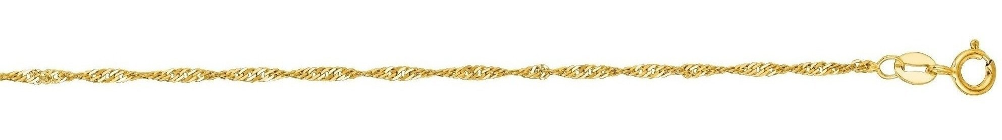 "10"" 14K Yellow Gold 1.5mm (0.06"") Polished Diamond Cut Singapore Chain Anklet w/ Spring Ring Clasp"