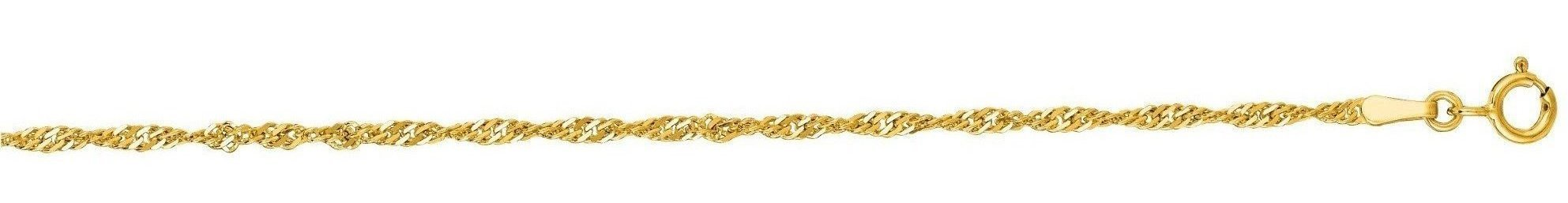 "7"" 14K Yellow Gold 1.7mm (0.07"") Diamond Cut Singapore Chain w/ Spring Ring Clasp"
