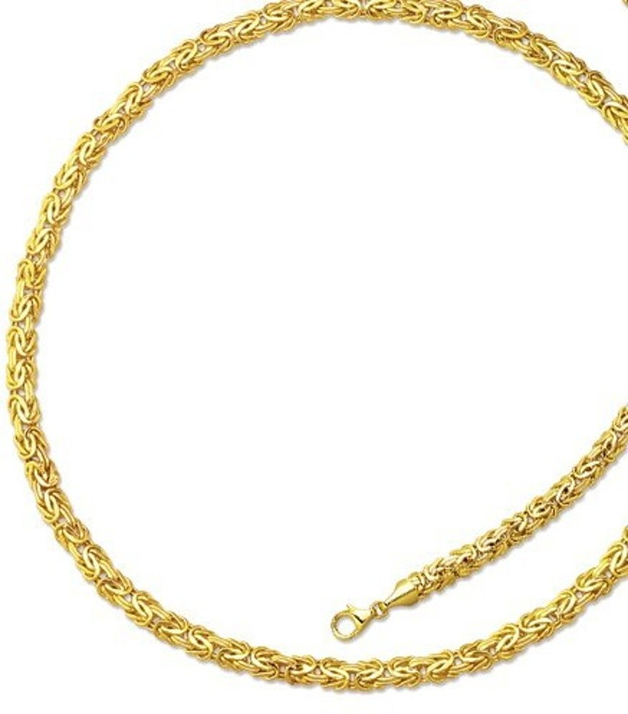 "18"" 14K Yellow Gold 6.0mm (1/4"") Lite Byzantine Fancy Necklace w/ Pear Shape Clasp"