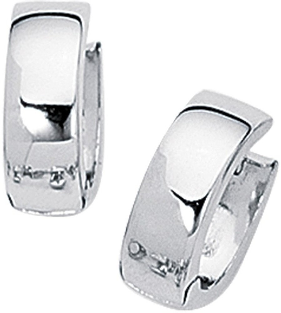 "14K White Gold Polished 5.0mm (1/5"") Snuggable Earrings"