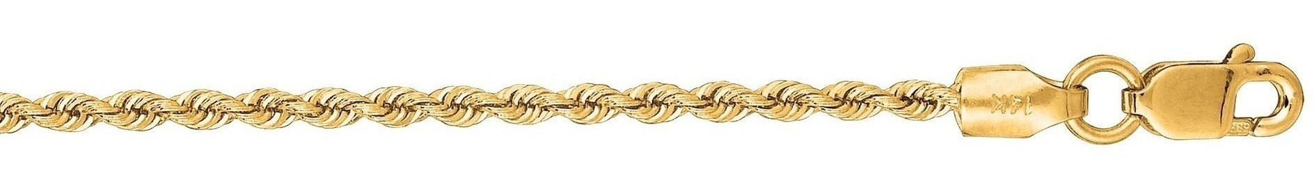 "18"" 14K Yellow Gold 1.5mm (0.06"") Polished Diamond Cut Solid Rope Chain w/ Lobster Clasp"