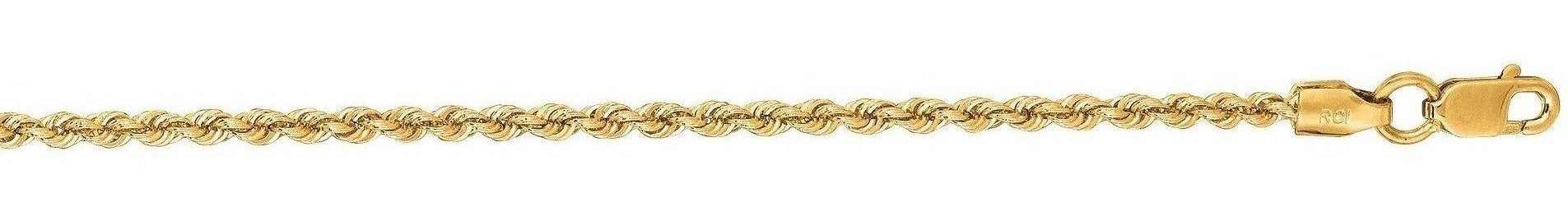 "22"" 14K Yellow Gold 2.0mm (0.08"") Polished Diamond Cut Solid Rope Chain w/ Lobster Clasp"