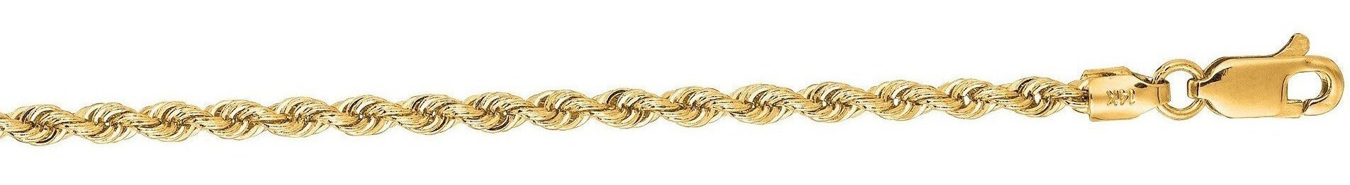 "22"" 14K Yellow Gold 2.5mm (1/10"") Polished Diamond Cut Solid Rope Chain w/ Lobster Clasp"