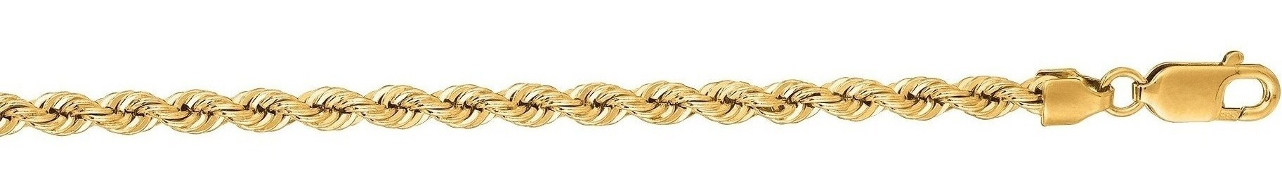 "20"" 14K Yellow Gold 3.0mm (1/8"") Polished Diamond Cut Solid Rope Chain w/ Lobster Clasp"