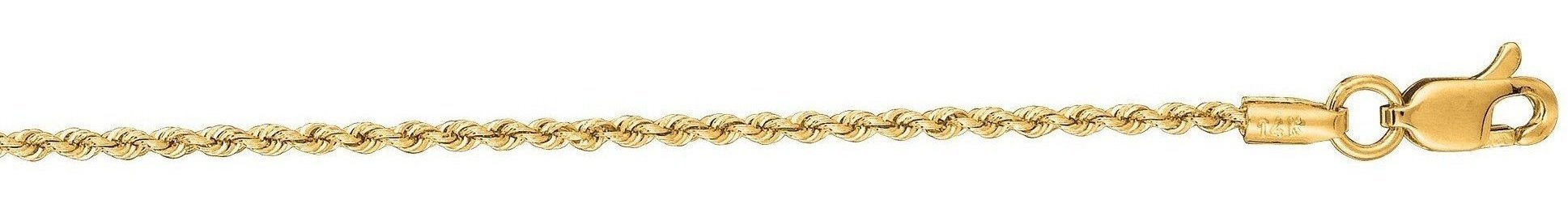 "18"" 14K Yellow Gold 1.25mm (0.05"") Polished Diamond Cut Solid Rope Chain w/ Lobster Clasp"