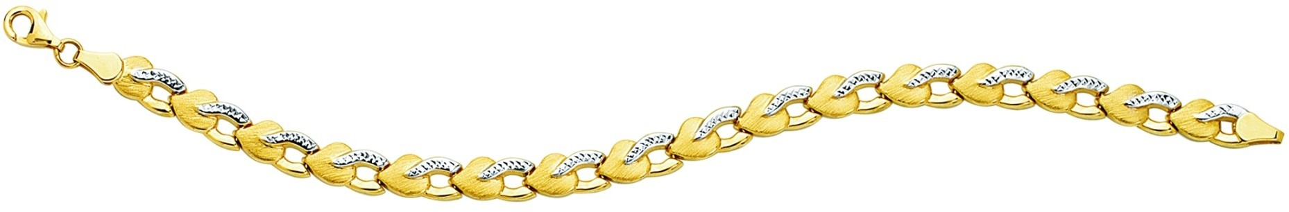 "7.25"" 14K Yellow Gold 6.20mm (1/4"") Polished Diamond Cut Textured Heart Like Fancy Bracelet w/ Pear Shape Clasp"