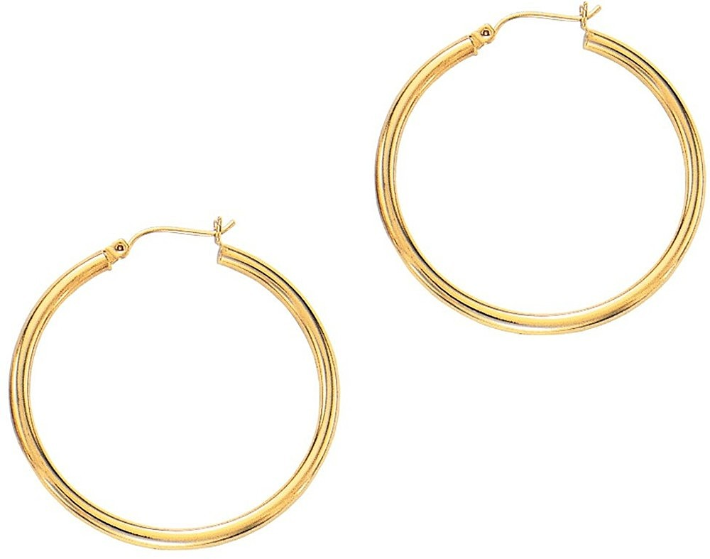 "14K Yellow Gold 3.0x40mm (0.12""x1.57"") Round Tube Polished Hoop Earrings"