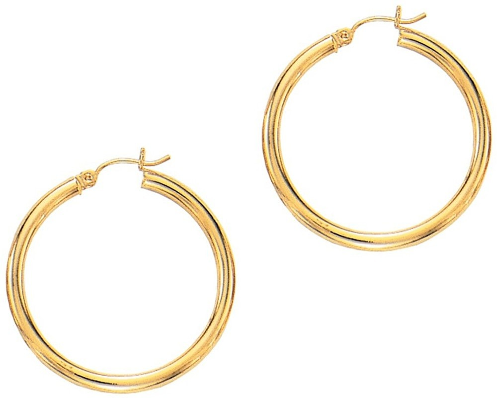 "14K Yellow Gold 3.0x30mm (0.12""x1.18"") Round Tube Polished Hoop Earrings"