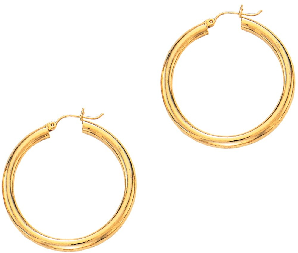 "14K Yellow Gold 4.0x40mm (0.16""x1.57"") Round Tube Polished Hoop Earrings"