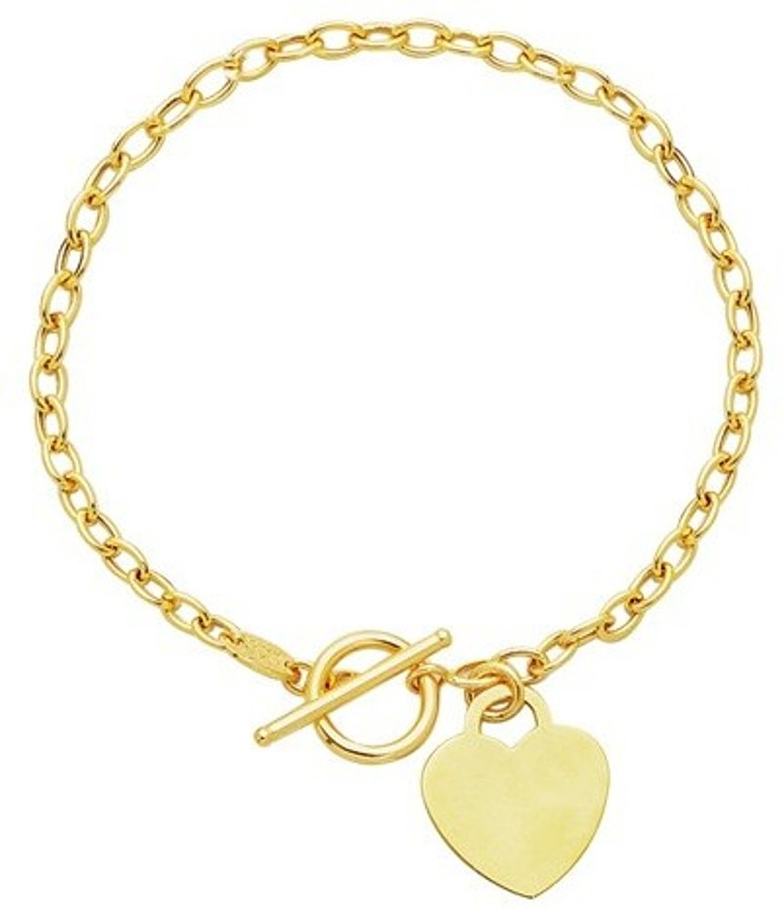 "17"" 14K Yellow Gold Polished Oval Chain Link Necklace w/ Heart & Toggle Lock"