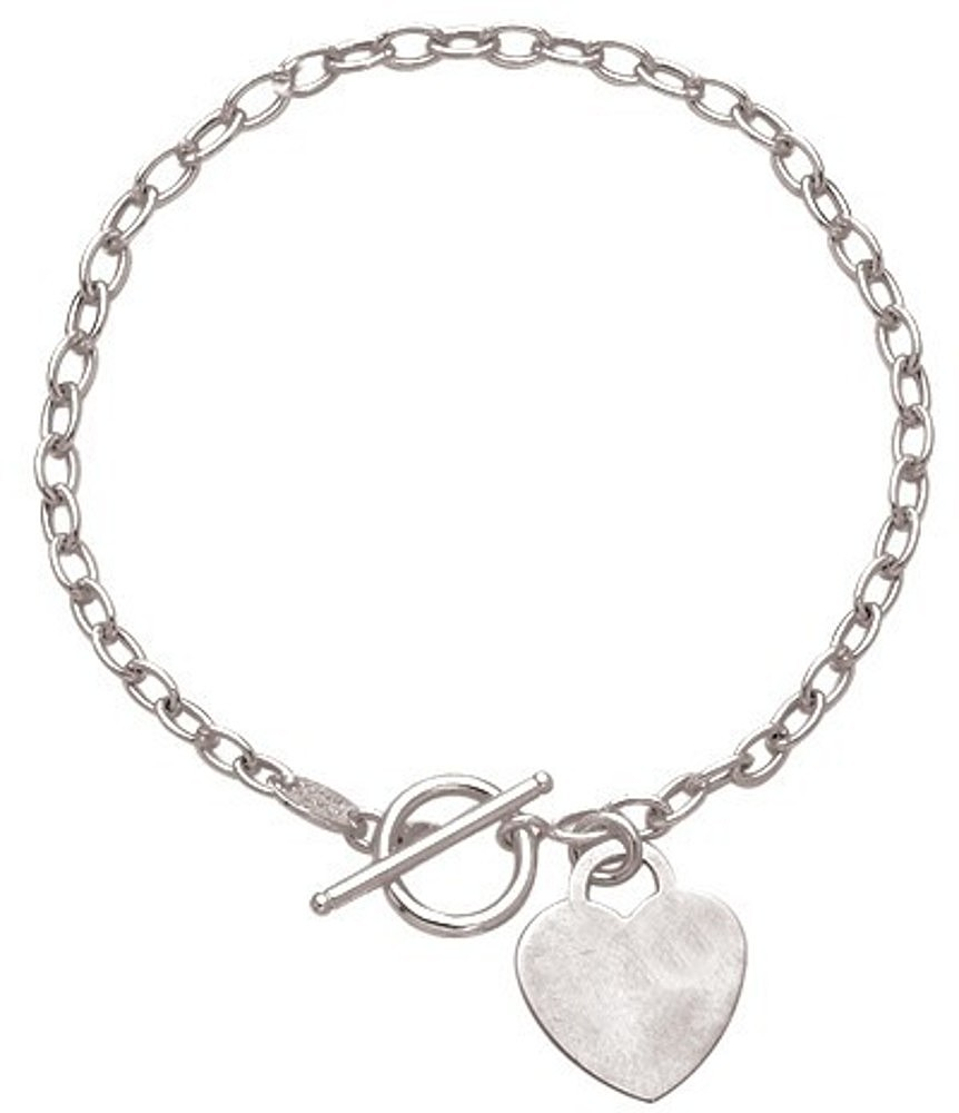 "7.5"" 14K White Gold Polished Diamond Cut Oval Chain Link Bracelet w/ Heart & Toggle Lock"