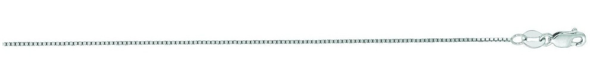"20"" 14K White Gold 0.7mm (0.03"") Polished Classic Box Chain w/ Lobster Clasp"