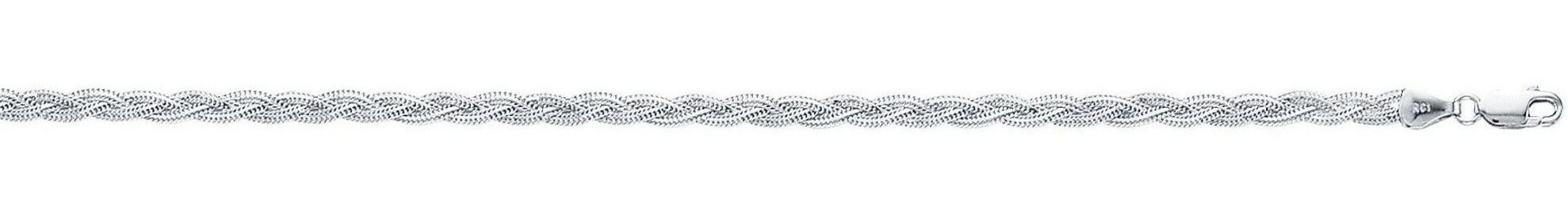 "18"" 14K White Gold 3.5mm (1/7"") Polished Diamond Cut Braided Foxtail Chain w/ Lobster Clasp"