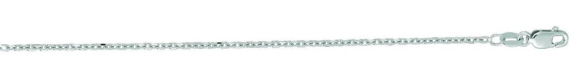 "20"" 14K White Gold 1.5mm (0.06"") Polished Diamond Cut Cable Link Chain w/ Lobster Clasp"