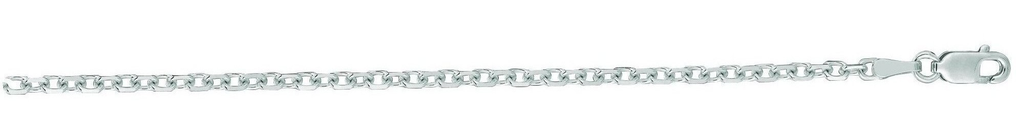 "30"" 14K White Gold 2.3mm (0.09"") Polished Diamond Cut Cable Link Chain w/ Lobster Clasp"