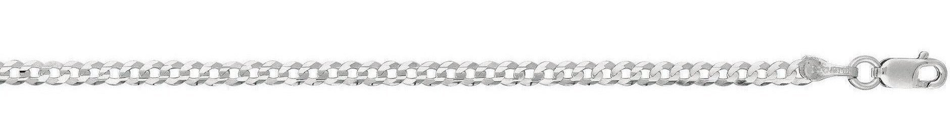 "24"" 14K White Gold 2.6mm (1/10"") Polished Diamond Cut Comfort Curb Chain w/ Lobster Clasp"