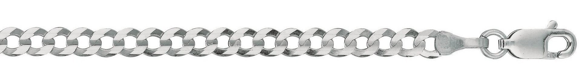 "22"" 14K White Gold 3.6mm (1/7"") Polished Diamond Cut Comfort Curb Chain w/ Lobster Clasp"