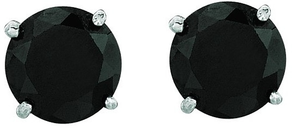 "14K White Gold Shiny 5.0mm (1/5"") Round Faceted Black Cubic Zirconia (CZ) Stud Earrings"