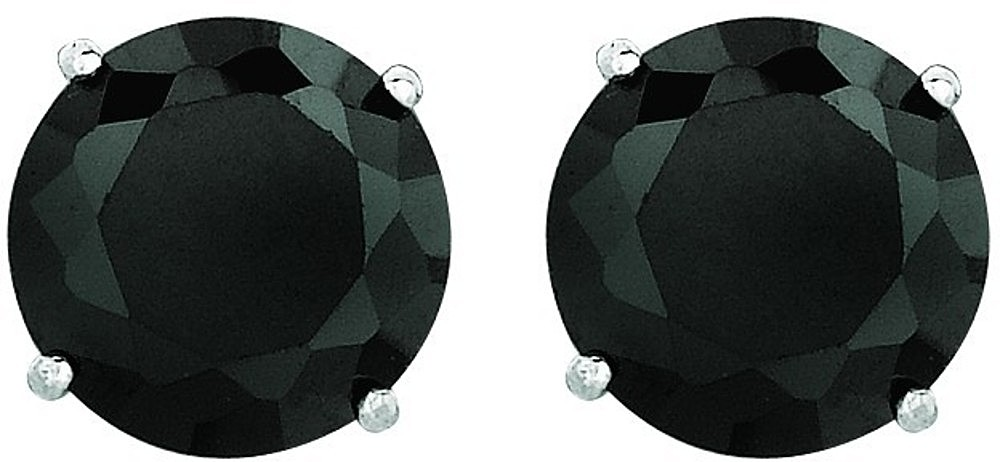 "14K White Gold Shiny 6.0mm (1/4"") Round Faceted Black Cubic Zirconia (CZ) Stud Earrings"