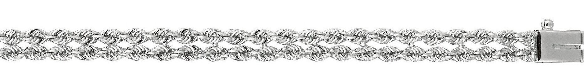 "7"" 14K White Gold 5.0mm (1/5"") Polished Diamond Multi Line Rope Chain w/ Box Catch Clasp"