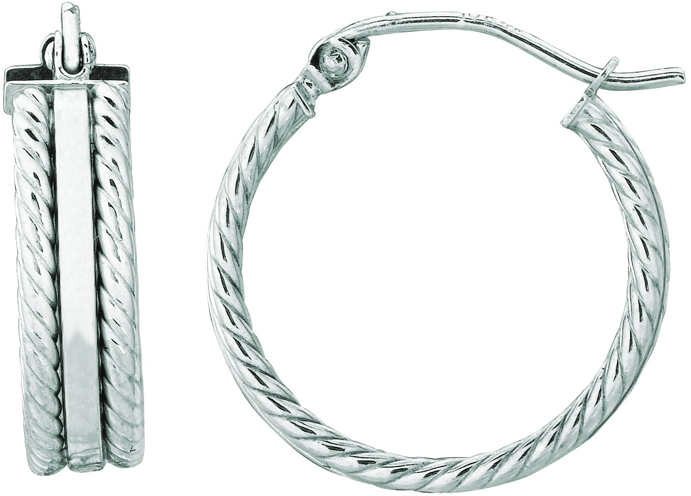 "14K White Gold 4.0mm (1/6"") Polished Twisted Wire Like Triple Hoop Earrings"