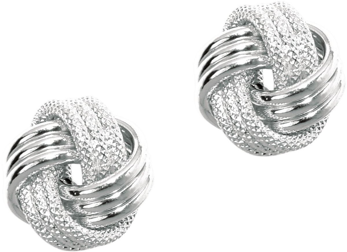 14K White Gold Shiny Textured 3 Row Love Knot Earrings