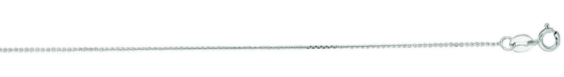 "16"" 14K White Gold 0.5mm (0.02"") Polished Diamond Cut Cable Link Chain w/ Spring Ring Clasp"
