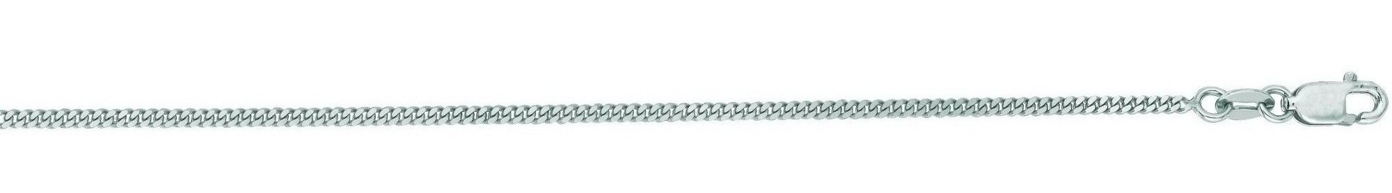 "24"" 14K White Gold 1.5mm (0.06"") Polished Diamond Cut Gourmette Chain w/ Lobster Clasp"