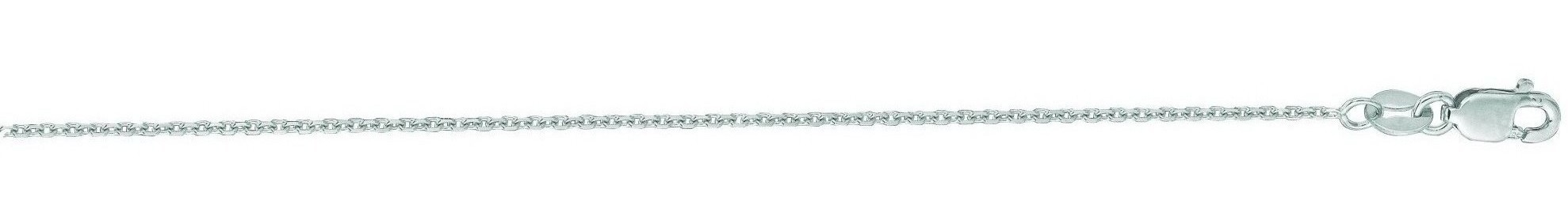 "24"" 14K White Gold 1.1mm (0.04"") Polished Diamond Cut Cable Link Chain w/ Lobster Clasp"