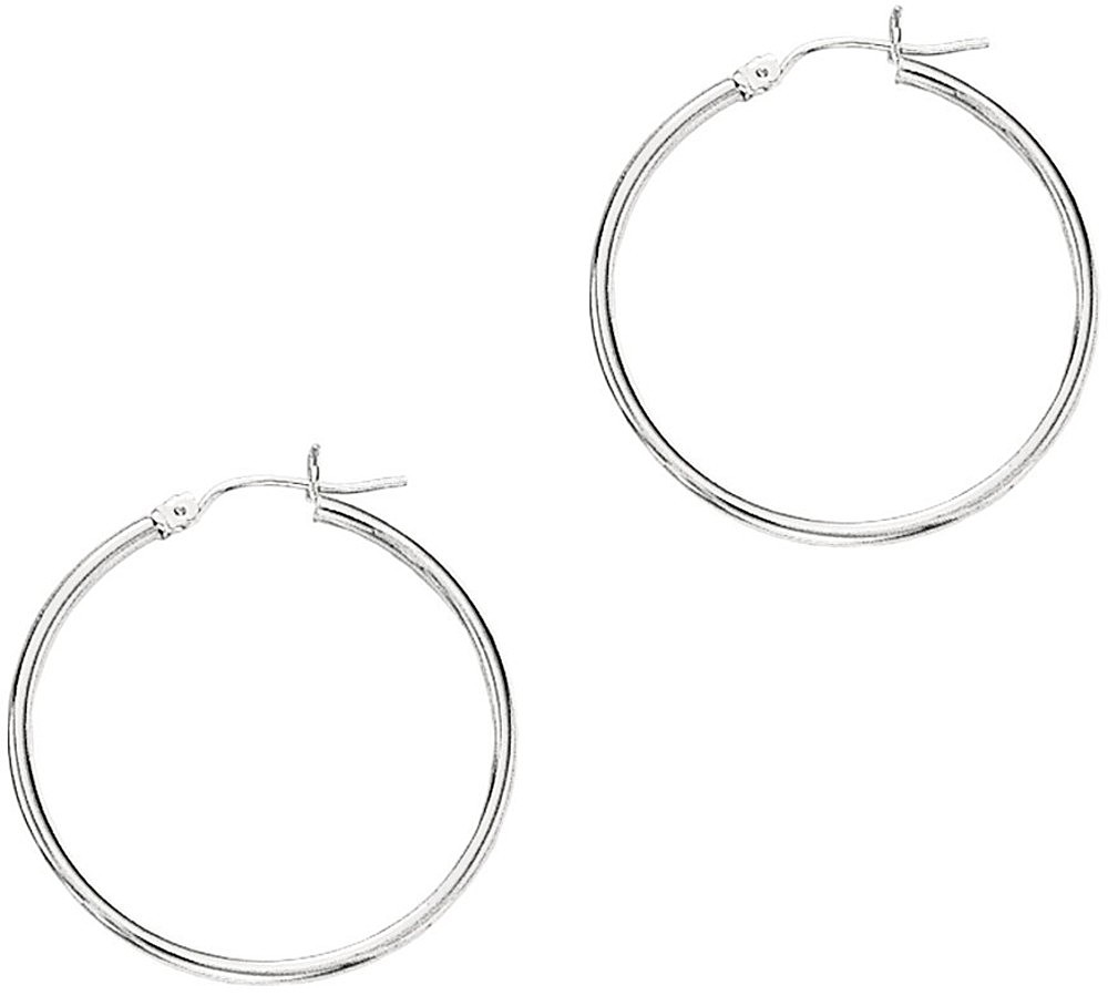 "14K White Gold 2x30mm (0.08""x1.18"") Polished Round Tube Hoop Earrings"