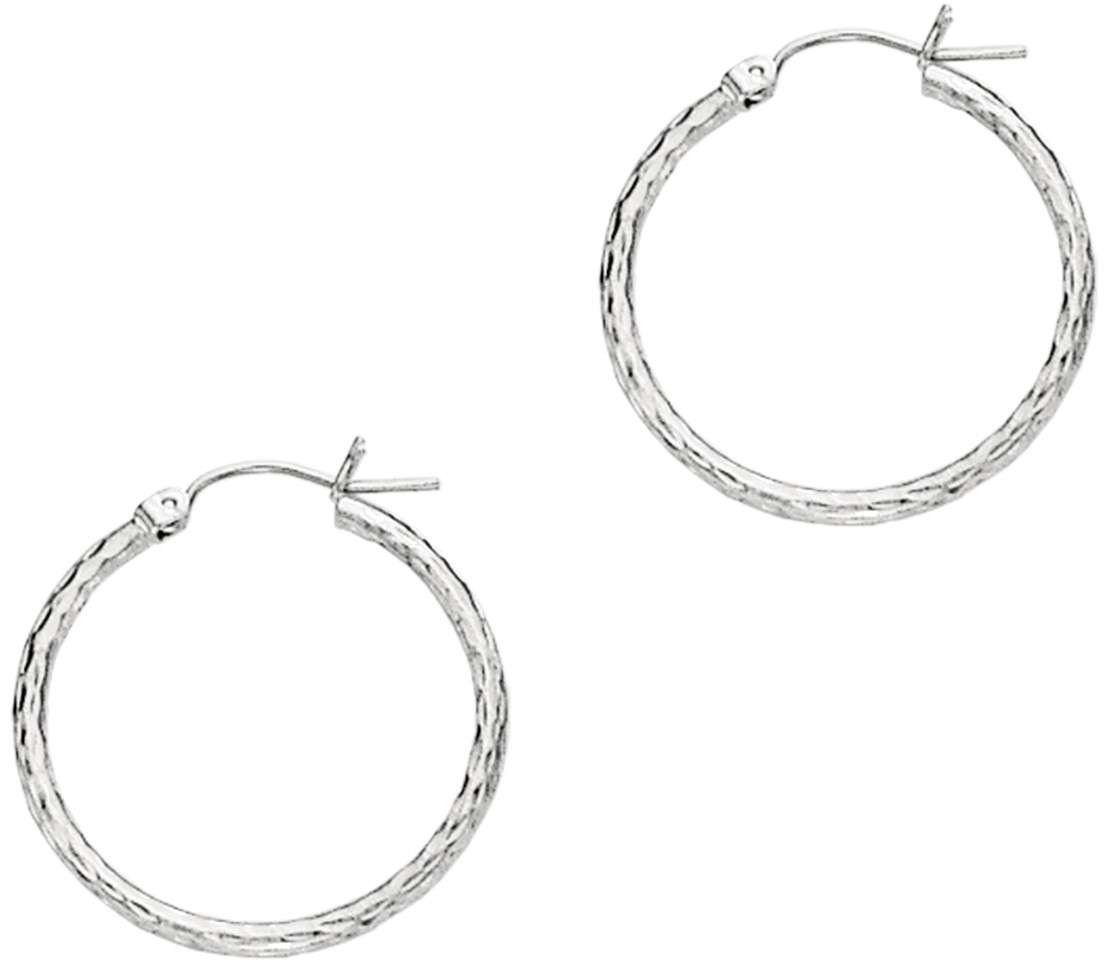 "14K White Gold 1.5x22mm (0.06""x0.87"") Polished Diamond Cut Round Tube Hoop Earrings"