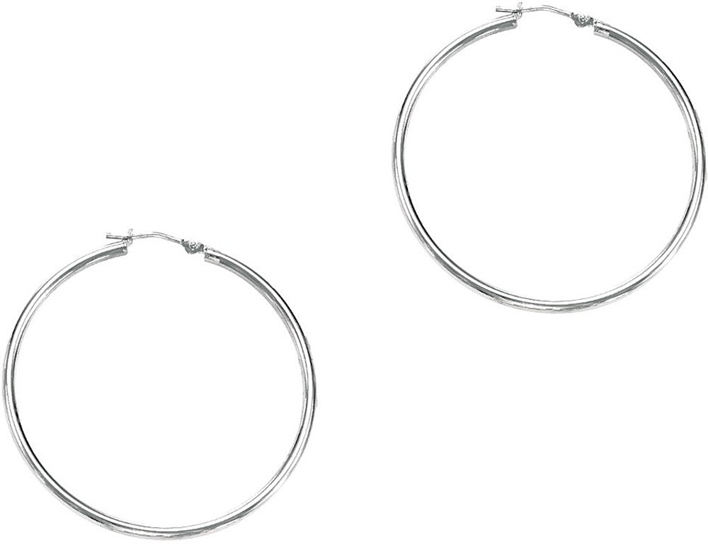 "14K White Gold 1.5x30mm (0.06""x1.18"") Polished Round Tube Hoop Earrings"