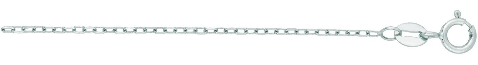"16"" 14K White Gold 1.3mm (0.05"") Polished Diamond Cut Faceted Cable Link Chain w/ Spring Ring Clasp"