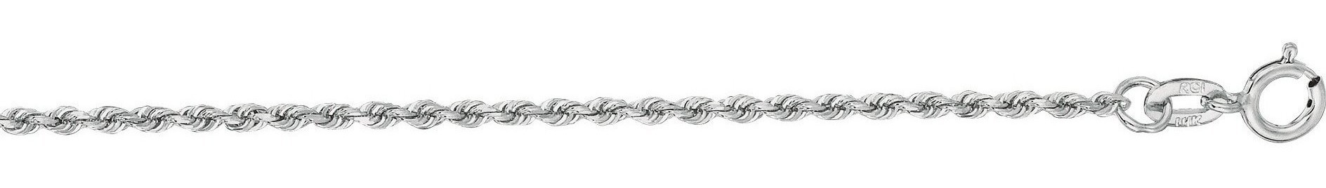 "20"" 14K White Gold 1.25mm (0.05"") Polished Solid Diamond Cut Royal Rope Chain w/ Spring Ring Clasp"