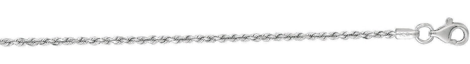 "16"" 14K White Gold 1.5mm (0.06"") Polished Solid Diamond Cut Royal Rope Chain w/ Pear Shape Clasp"