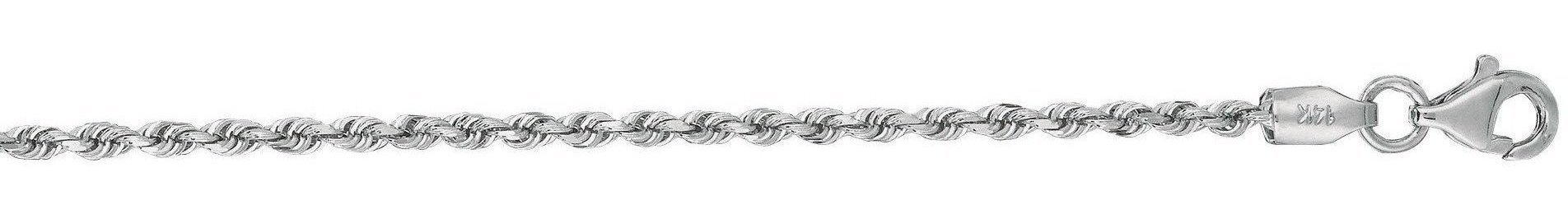 "18"" 14K White Gold 2.0mm (0.08"") Polished Solid Diamond Cut Royal Rope Chain w/ Pear Shape Clasp"