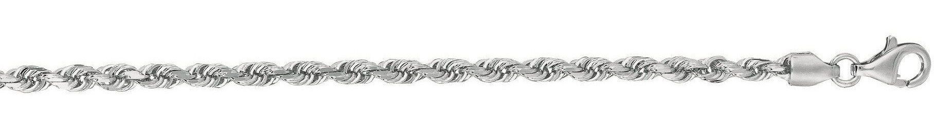 "8"" 14K White Gold 3.0mm (1/8"") Polished Solid Diamond Cut Royal Rope Chain w/ Pear Shape Clasp"