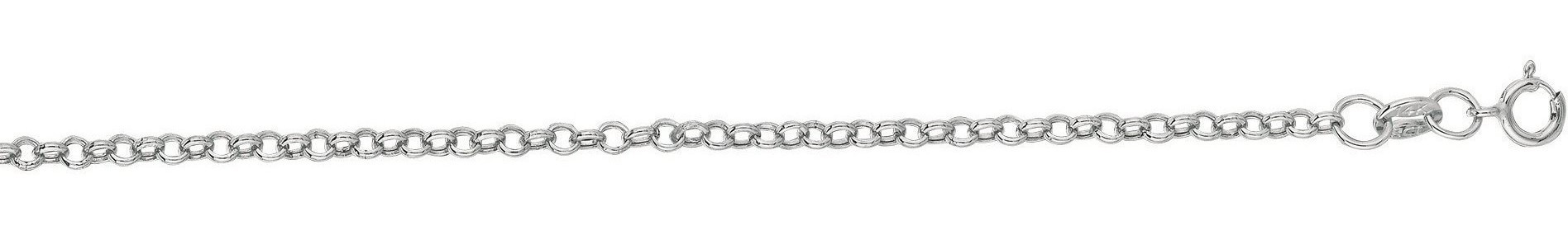 "20"" 14K White Gold 2.0mm (0.08"") Polished Diamond Cut Round Rolo Chain w/ Spring Ring Clasp"