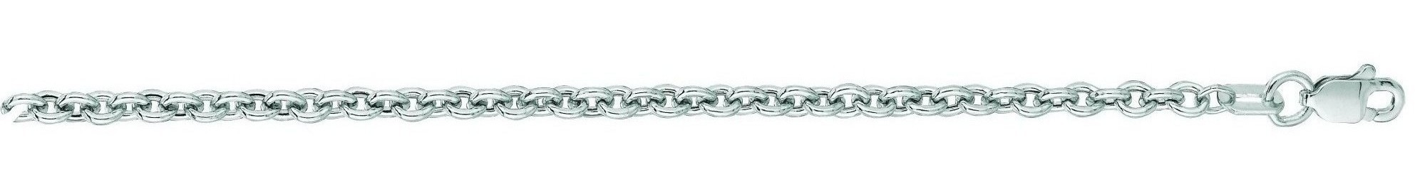 "18"" 14K White Gold 3.0mm (1/8"") Diamond Cut Forsantina Chain w/ Lobster Clasp"