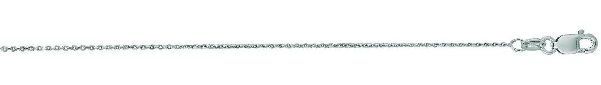 "20"" 14K White Gold 0.7mm (0.03"") Polished Diamond Cut Round Cable Link Chain w/ Lobster Clasp"